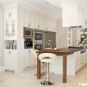 Tủ bếp gỗ tự nhiên sơn men trắng chữ I   TVB0835