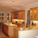 Tủ bếp gỗ tự nhiên chữ I có đảo   TVB797