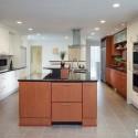 Tủ bếp gỗ Laminate chữ I song song màu vân gỗ phối trắng có đảo   TVB1023