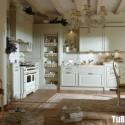 Tủ bếp gỗ Sồi sơn men trắng chữ L   TVB0975