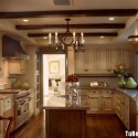 Tủ bếp gỗ tự nhiên Sồi Mỹ sơn men – TVB337