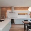 Tủ bếp Acrylic màu trắng chữ I có bàn đảo   TVB 1157