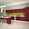 Tủ bếp gỗ Acrylic chữ I màu đỏ   TVB666