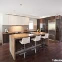 Tủ bếp gỗ Acrylic màu trắng kết hợp vân gỗ có bàn đảo   TVB 1224