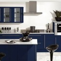 Tủ bếp gỗ Laminate chữ U màu xanh dương   TVB725