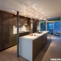 Tủ bếp gỗ Laminate hình chữ I màu vân gỗ có đảo   TVB0950