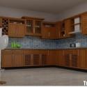 Tủ bếp gỗ tự nhiên Xoan Đào kết hợp bàn bar – TVB490