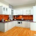 Tủ bếp gỗ Sồi sơn men trắng chữ U   TVB 1229