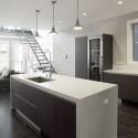 Tủ bếp Laminate màu vân gỗ chữ I có bàn đảo   TVB725