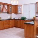 Tủ bếp gỗ Xoan đào, có quầy bar – TVB649