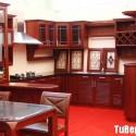 Tủ bếp gỗ căm xe chữ U có bar   TVB775