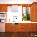Tủ bếp gỗ tự nhiên Căm xe dạng chữ L có bàn đảo   TVB1124