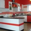 Tủ bếp Laminate trắng đỏ   TVB0846