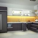 Tủ bếp gỗ Laminate chữ L mau trắng phối xám   TVB0822