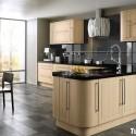 Tủ bếp gỗ Laminate chữ L màu kem   TVB673
