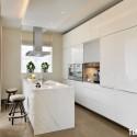 Tủ bếp gỗ Acrylic màu trắng chữ I có đảo   TVB 1199
