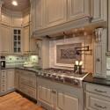 Tủ bếp gỗ Sồi tự nhiên sơn men trắng chữ L TVB0899