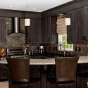 Tủ bếp gỗ Xoan đào sơn men đen chữ L có đảo vòng cung   TVB737
