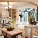 Tủ bếp gỗ Sồi Mỹ sơn men trắng chữ L   TVB1164