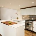 Tủ bếp acrylic màu trắng sữa, chữ L   TVB 1121