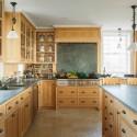 Tủ bếp gỗ Sồi tự nhiên hình chữ L có đảo   TVB0972
