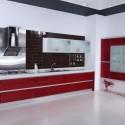 Tủ bếp Acrylic màu trắng kết hợp đỏ, chữ I   TVB1138