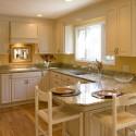 Tủ bếp gỗ Xoan đào sơn men trắng chữ U   TVB 1170