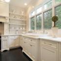 Tủ bếp gỗ Sồi sơn men trắng chữ L   TVB1010
