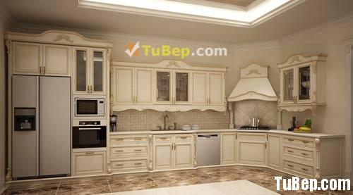 3b61544427 Tủ bếp gỗ tự nhiên Sồi sơn men, chữ L , phong cách cổ điển  TVB 1155