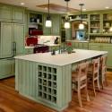 Tủ bếp gỗ tự nhiên sơn men trắng + bàn đảo – TVB585