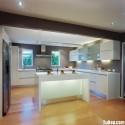 Tủ bếp gỗ Acrylic chữ L màu trắng có đảo   TVB1030