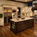 Tủ bếp gỗ tự nhiên hình chữ U sơn men trắng có đảo   TVB0960