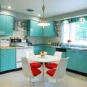 Tủ bếp gỗ Laminate màu xanh   TVB786