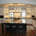 Tủ bếp gỗ Sồi sơn men trắng chữ L, có bàn đảo   TVB1137
