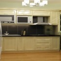 Tủ bếp gỗ tự nhiên sơn men + bàn Bar mini – TVB440