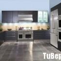 Tủ bếp gỗ Laminate chữ L màu xám  TVB 1253