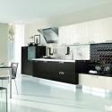 Tủ bếp gỗ Laminate chữ I màu trắng phối đen   TVB0908