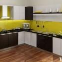 Tủ bếp Laminate màu trắng kết hợp vân gỗ chữ L   TVB0852