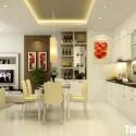Tủ bếp gỗ Acrylic màu trắng chữ I, có bàn đảo  TVB 1242