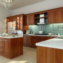 Tủ bếp gỗ Căm Xe chữ L có bàn đảo   TVB0884