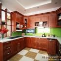 Tủ bếp gỗ Căm Xe dạng chữ U   TVB1077