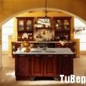 Tủ bếp gỗ Căm xe tự nhiên chữ I có đảo   TVB 1258