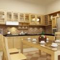 Tủ bếp gỗ Xoan đào chữ L sơn men màu mỡ gà   TVB1036