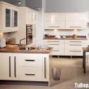 Tủ bếp gỗ Acrylic màu trắng chữ L  TVB 1187