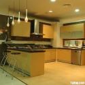 Tủ bếp gỗ Tần Bì chữ U có đảo   TVB0998