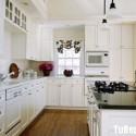 Tủ bếp gỗ Xoan đào sơn men trắng chữ L   TVB0977