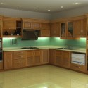 Tủ bếp gỗ Tần Bì (Ash) chữ L   TVB677