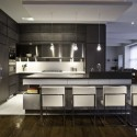 Tủ bếp laminate chữ L, có bàn đảo   TVB 1149