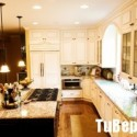 Tủ bếp gỗ Sồi tự nhiên hình chữ L sơn men trắng   TVB 1252