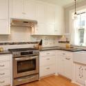 Tủ bếp gỗ tự nhiên Sồi Mỹ sơn men – TVB326